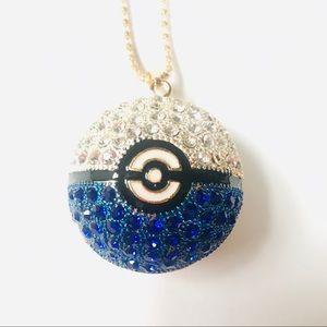 🆕 Blue Pokemon Ball Necklace